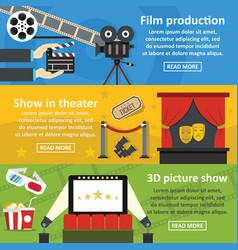 Film production banner horizontal set flat style vector