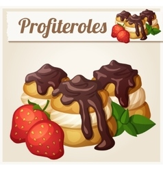 Profiteroles with chocolate and strawberry vector image vector image