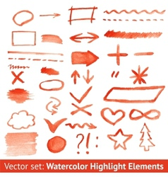 Set of red watercolor highlight elements vector image vector image