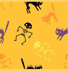 halloween orange cartoon seamless background vector image