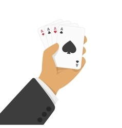 Playing cards in hand vector image