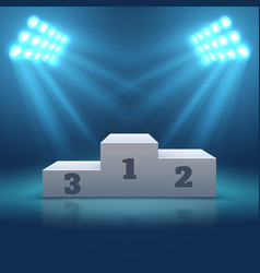 sports winner empty podium illuminated by vector image vector image
