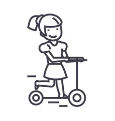 girl on a scooter line icon sign vector image vector image