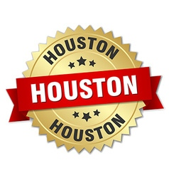 Houston round golden badge with red ribbon vector image vector image