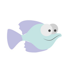light colours silhouette of small fish with big vector image vector image