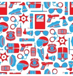 seamless pattern of police equipment vector image