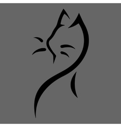Stylized cat icon on gray background vector image