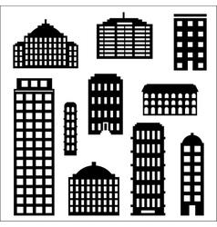 Urban building silhouette set vector image