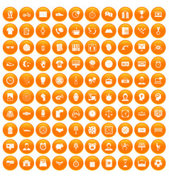 100 clock icons set orange vector