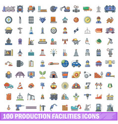 100 production facilities icons set cartoon style vector