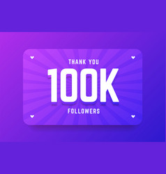 100k followers in gradient violet vector