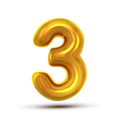 3 three number golden yellow metal letter vector