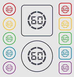 60 second stopwatch icon sign symbol on the Round vector image