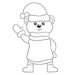Adult coloring bookpage a cute cartoon bear vector