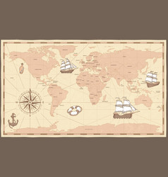 Antique world map vintage compass and retro ship vector