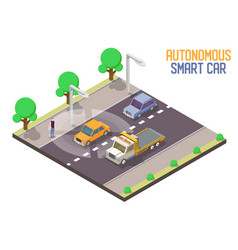 autonomous smart car isometric vector image