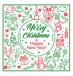 background with festive pictures and text merry vector image