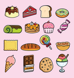 bakery pastry and dessert doodle vector image