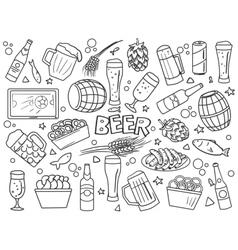 Beer elements line art style vector image