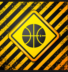 Black basketball ball icon isolated on yellow vector