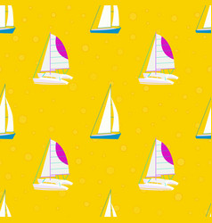 boats yachts on the sea on a cruise seamless vector image