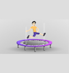 boy at trampoline concept banner cartoon style vector image