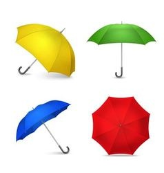 Bright Colorful Umbrellas 4 Realistic Images vector