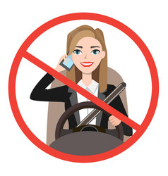 Businesswomen driving a car talking on the phone vector