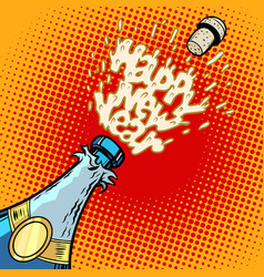 champagne bottle opens foam and cork vector image