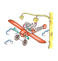 Character mouse pilot flying on airplane vector