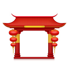 chinese lanterns gates realistic composition vector image