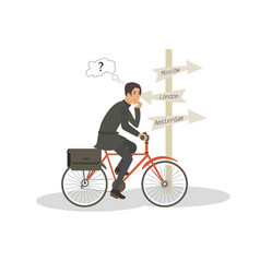 choosing destination for annual cycling trip vector image