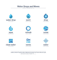 Clean water drops and waves creative symbols set vector