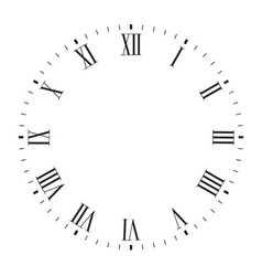 Clock face blank with roman numerals vector