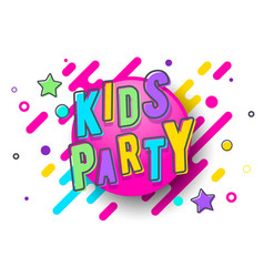 colorful kids party banner template vector image