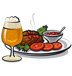Cutlets with beer vector