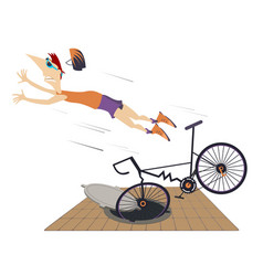 Cyclist falling down from the bicycle isolated ill vector