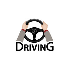 driving car sign diver with hands holding vector image