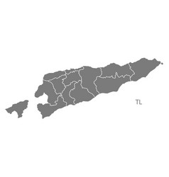 east timor districts map grey vector image