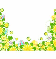 Easter eggs and flowers vector image