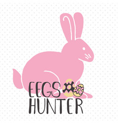easter greeting card - eggs hunter vector image