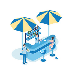 Female tourist in beach bar isometric vector