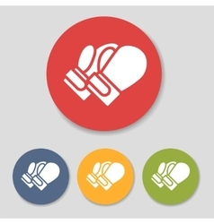 Flat boxing gloves icons vector image