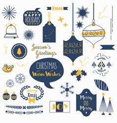 Flat navy blue and orange christmas icons set vector