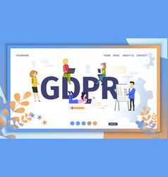 gdpr official regulations flat website vector image