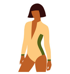girl surfer in a swimsuit in flat style vector image
