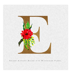 golden letter e watercolor floral background vector image