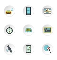 GPS icons set flat style vector image
