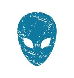 Grunge alien face icon vector