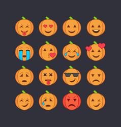 Halloween emoticon face icons set vector